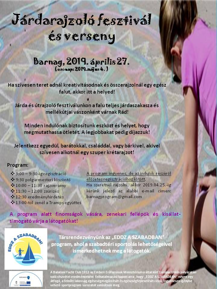 Járdarajzoló fesztivál és Eddz a szabadban program lesz Barnagon